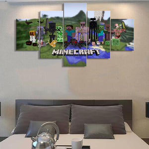 Minecraft Game Posters Canvas Print 5 Pieces