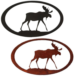 Moose Oval Rustic Southwestern Metal Wall Art