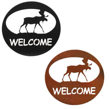 Moose Welcome Circle Rustic Southwestern Metal Wall Art