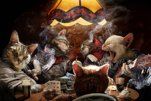 Cats Playing Poker Cards Canvas Print