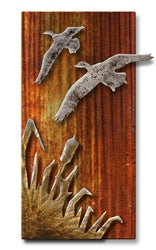 Flying Ducks at Sunset Metal Wall Art Sculpture
