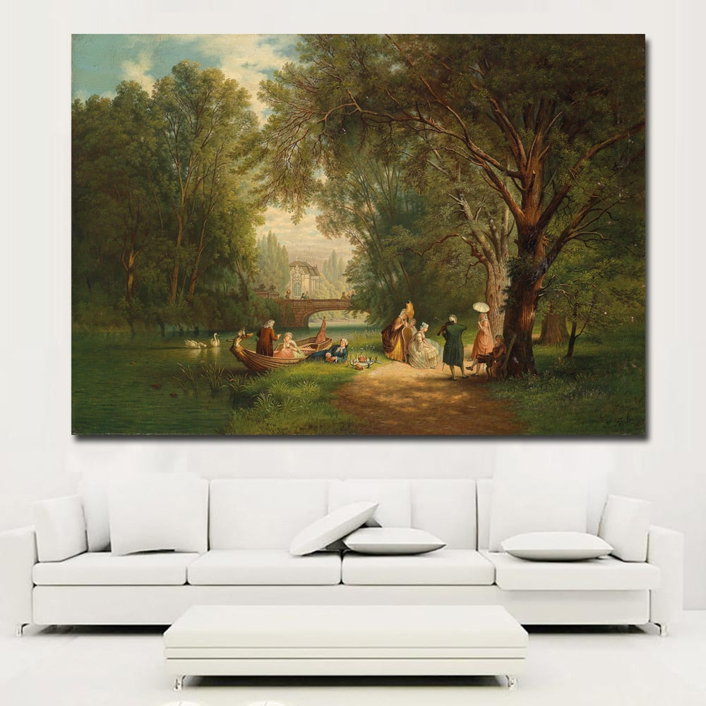 People Party Beside River Canvas Prints