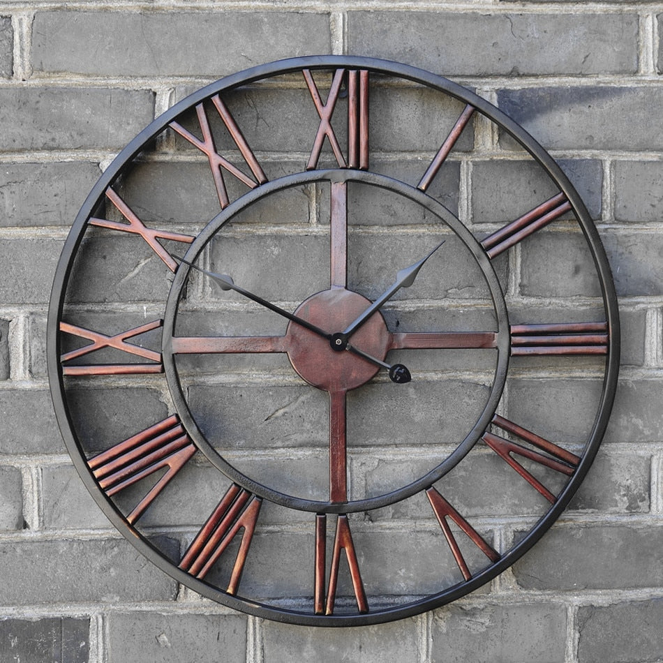 Wrought Hollow Iron Vintage Wall Clock Canvas Frenzy