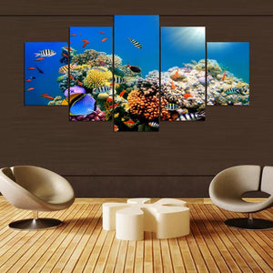 Coral Reef Paradise 5 piece Canvas Wall Art Print - Limited Edition