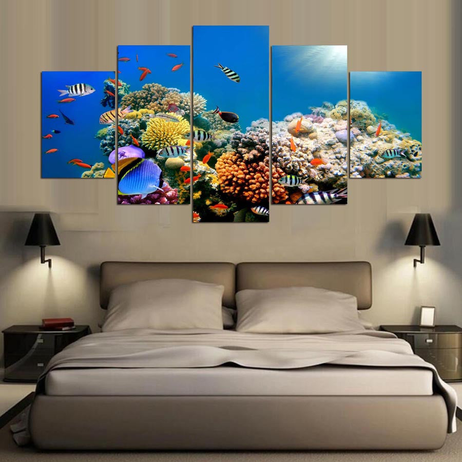 Coral Reef Paradise 5 Piece Canvas Wall Art Print