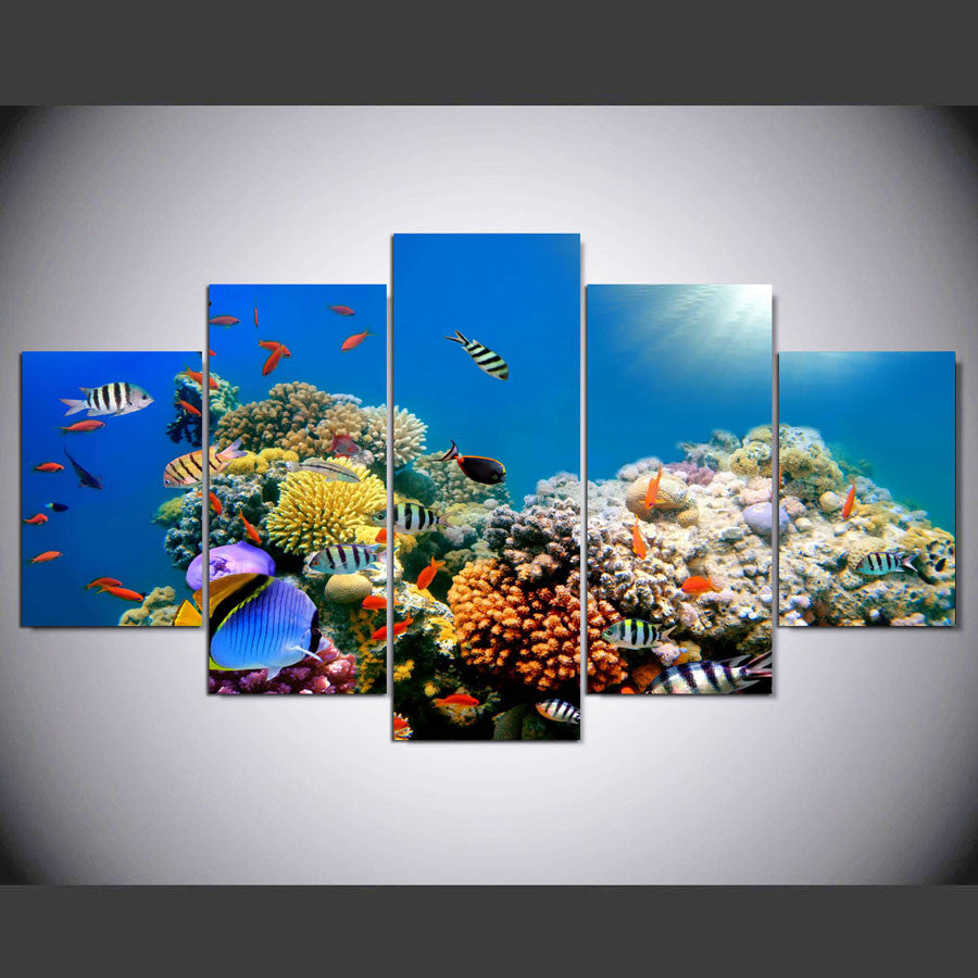 ... Coral Reef Paradise 5 Piece Canvas Wall Art Print   Limited Edition