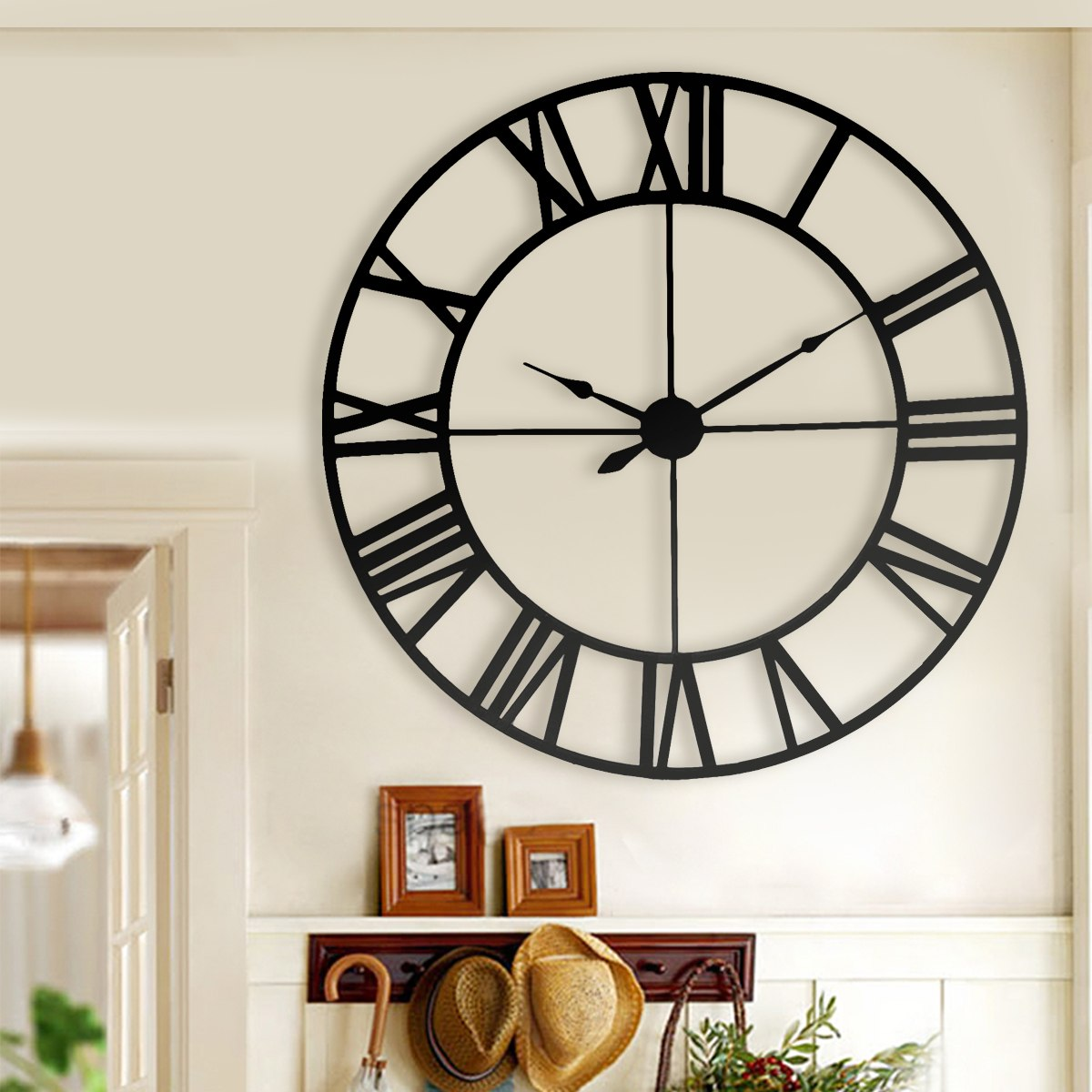 Large Retro Black Iron Art Hollow Wall Clock