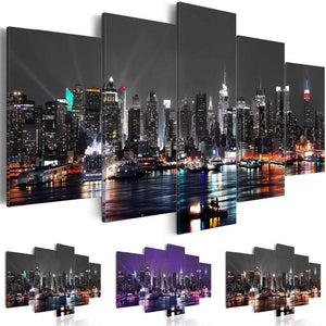 5 Panel New York City at Night Canvas Art Print