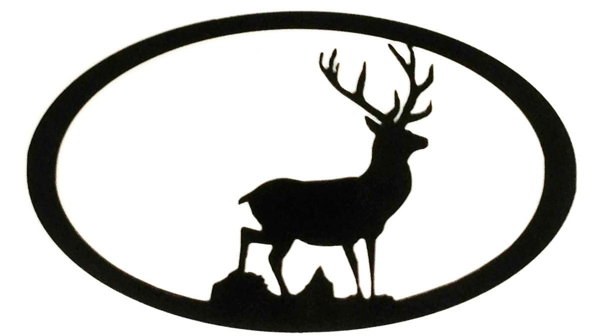 Stag Oval - black - metal art - 7055 inc