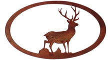 Stag Oval - Rust- metal art - 7055 inc