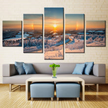 Sunrise Snow Mountain Canvas Print 5 Pieces