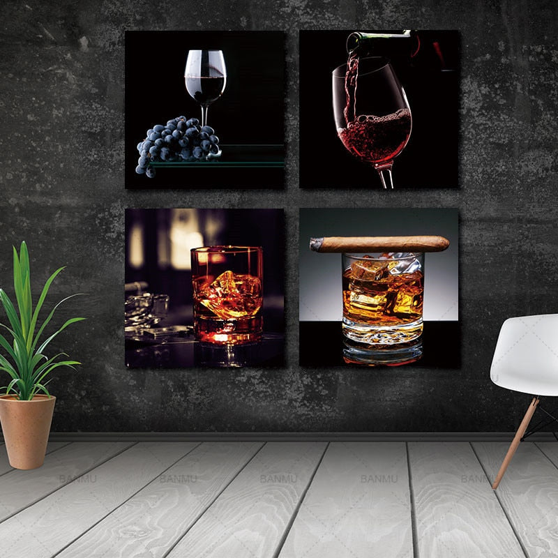 Wine With Cigar Canvas Prints