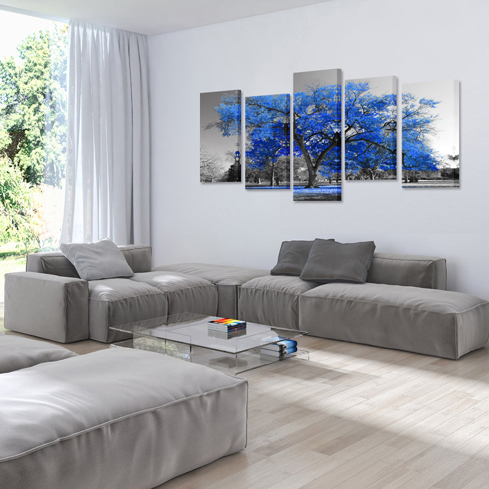 Beautiful blue trees canvas print 5 pieces canvas frenzy - Living room wall decor pictures ...