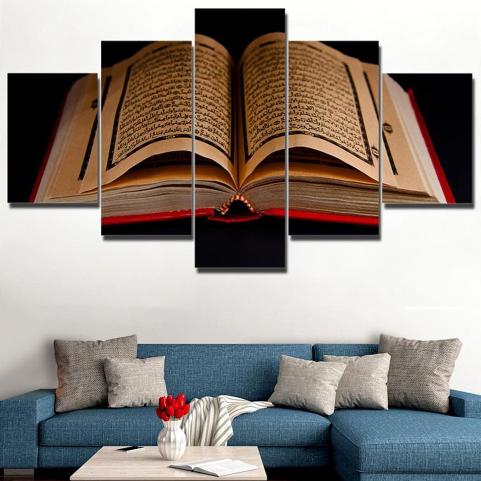 Quran Islamic Scriptures Canvas Print 5 Pieces