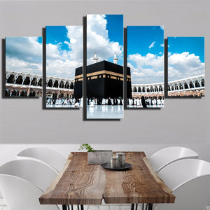Islamic Religious Hajj Round Mosque Tomb Of Muhammad Canvas Print 5 Piece