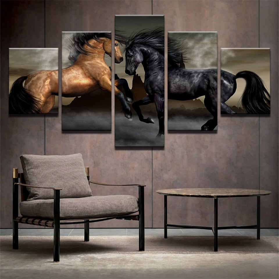 Horses Brown and Black Canvas Print 5 Pieces