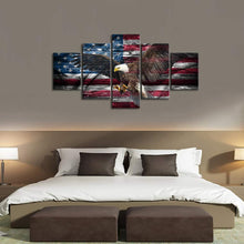 Retro Bald Eagle USA US American Flag Military Canvas Prints - 5 Pieces