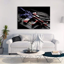 Retro Gun American Flag Military Wall Art Canvas Prints - 5 Pieces