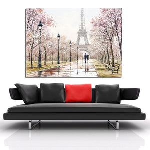Romantic City Couple Paris Eiffel Tower Landscape Canvas Print