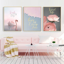 Nordic Landscape Flower Animal Wall Art Canvas Print