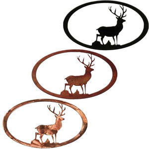 Stag Oval Rustic Southwestern Metal Wall Art