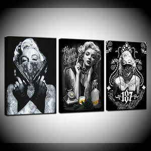 Tattoo Marilyn Monroe Canvas Print 3 Pieces