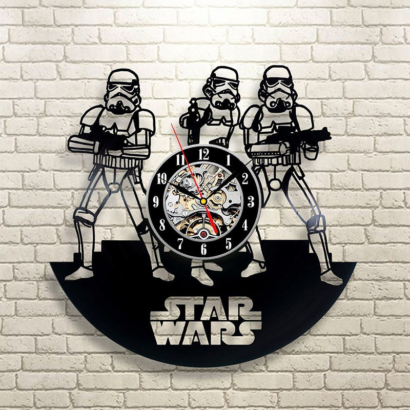 Vinyl Record Wall Clock Star War Theme LED Clocks