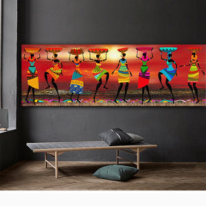 Cuadros Etnicos Tribal African Women Dancing Canvas Print