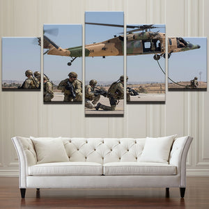 Military Soldiers Aircraft Canvas Print 5 Piece