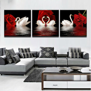 White Swans Red Roses Canvas Print 5 Pieces