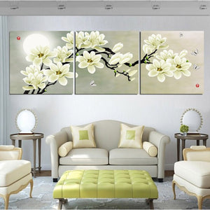 3 Panels Magnolia Flowers Painting Canvas Print