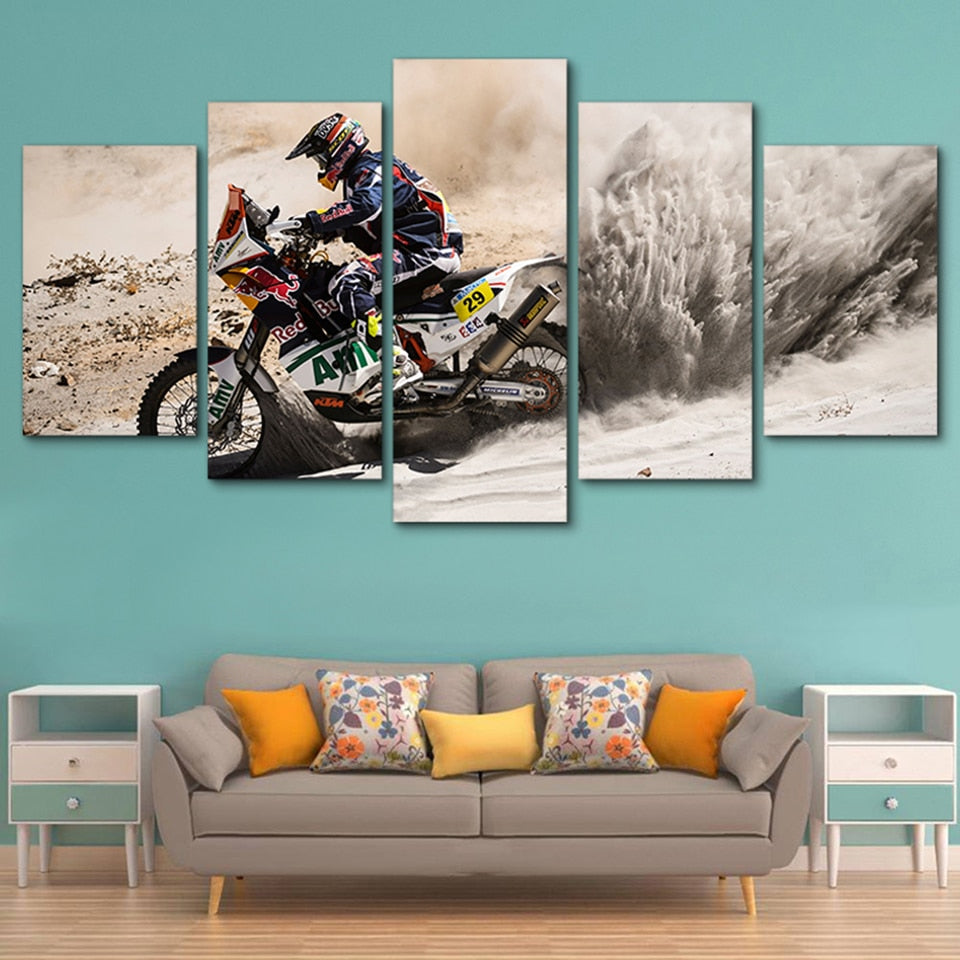 Motocross in Action Canvas Print 5 Pieces