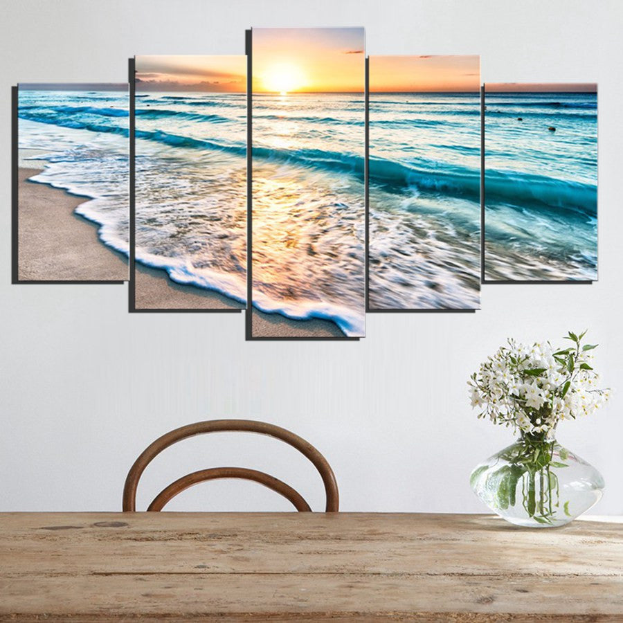 Waves on Beach at Sunset 5 piece HQ Canvas Wall Art Print ...