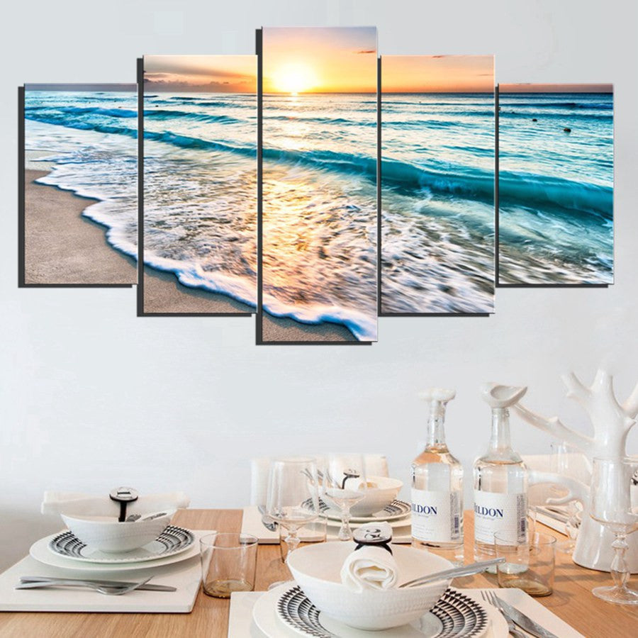 Waves on Beach at Sunset 5 piece HQ Canvas Wall Art Print - Limited Edition