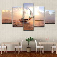 Sailboat Seaview Canvas Print 5 Pieces