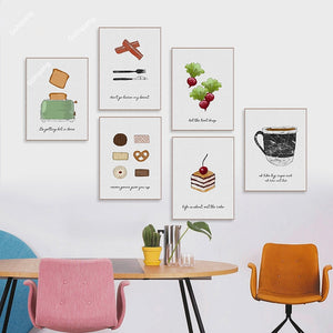 Watercolor Food Cake Coffee Fruits Kitchen Canvas Print