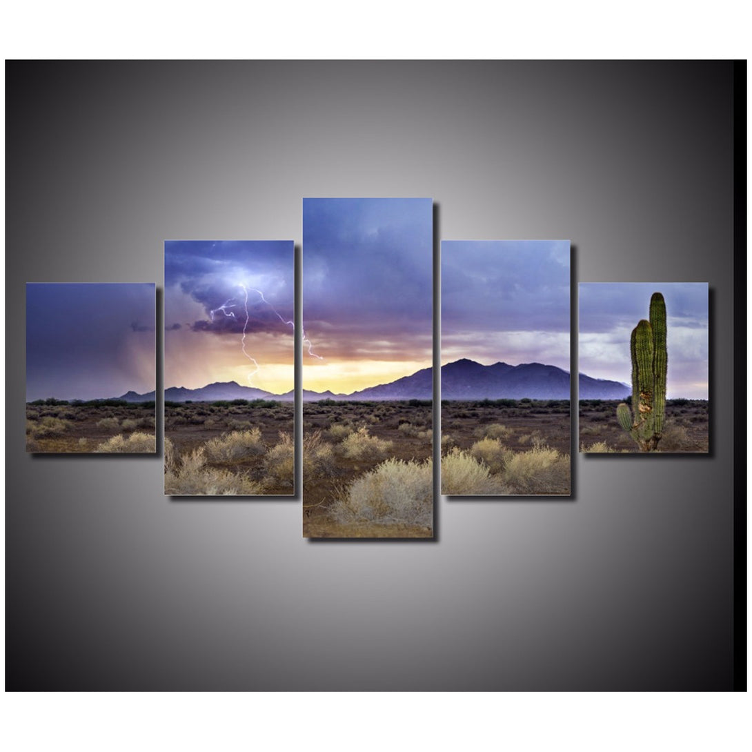 Summer Storm in Desert 5 piece Canvas Wall Art Print - Limited Edition