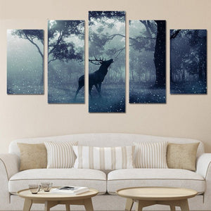 Bull Elk in Evening Snow 5 piece HQ Canvas Wall Art Print - Limited Edition