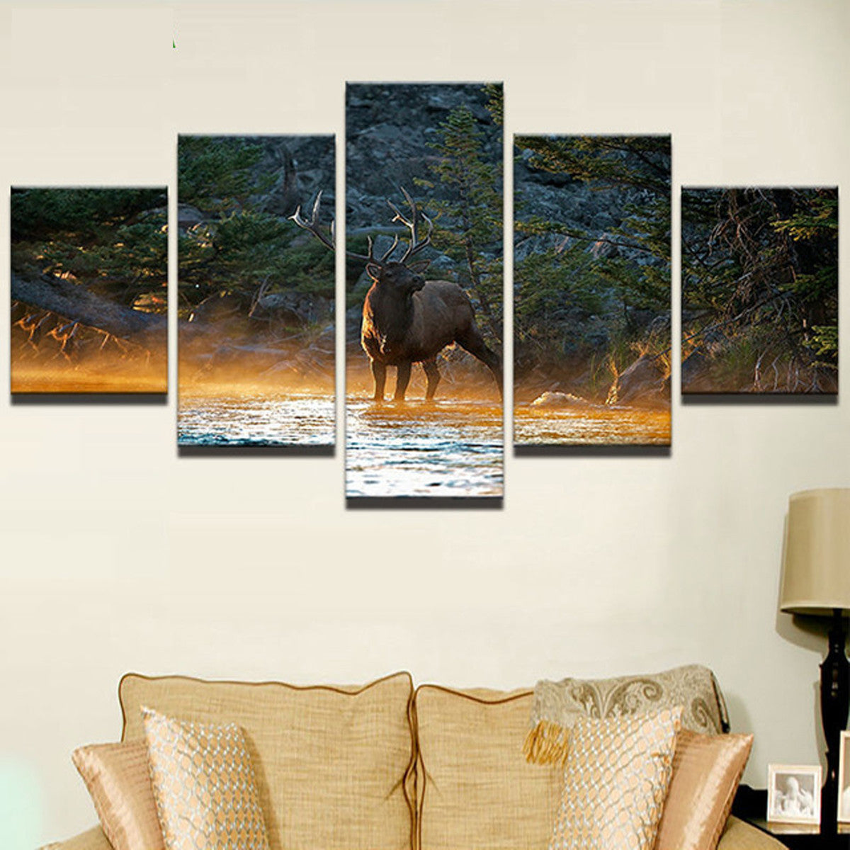 Bull Elk in Stream Morning Mist 5 piece HQ Canvas Wall Art Print - Limited Edition