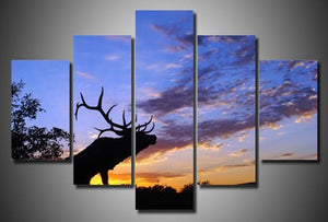 Bull Elk at Sunset 5 piece HQ Canvas Wall Art Print - Limited Edition