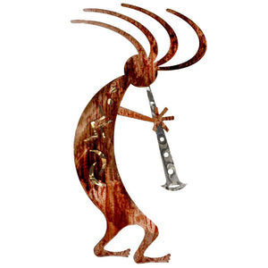 Kokopelli Dancer - gold - metal wall art - #7055inc