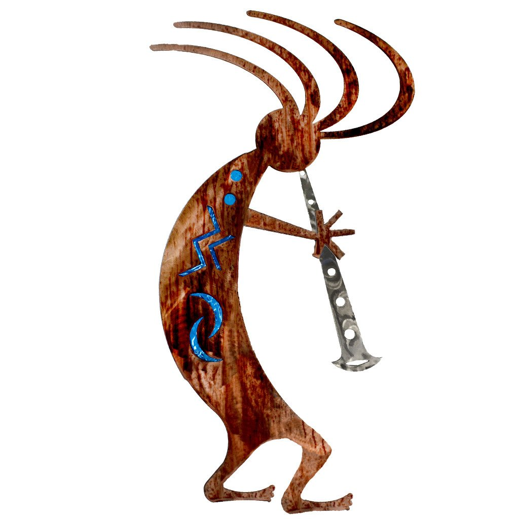 Kokopelli Dancer - blue - metal wall art - #7055inc