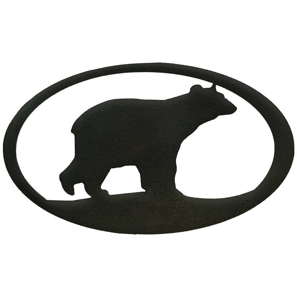 Bear Oval - hammered black - metal art - #7055inc