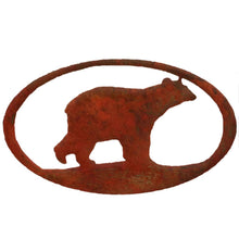 Bear Oval - natural rust patina - metal art - #7055inc