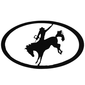 Bronc Rider Oval - Hammered Black - metal wall art - #7055inc