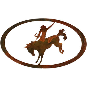 Bronc Rider Oval - Natural Rust Patina - metal wall art - #7055inc