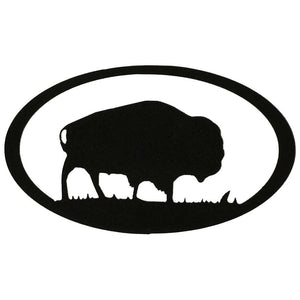 Buffalo Oval - hammered black - metal wall art - #7055inc