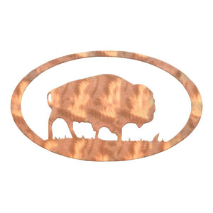 Buffalo Oval Rustic Southwestern Metal Wall Art