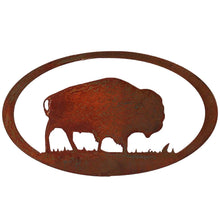 Buffalo Oval - natural rust patina - metal wall art - #7055inc