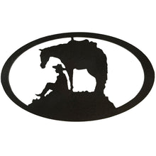 Horse and Cowboy Oval - hammered black - metal wall art - #7055inc